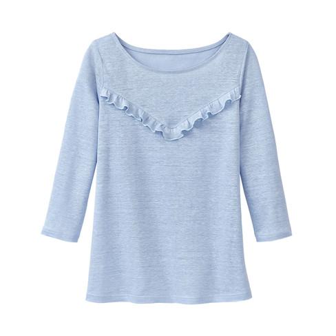 Linnen-jersey shirt met ruches, lichtblauw 34