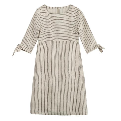Linnen jurk, natuur-gestreept 40
