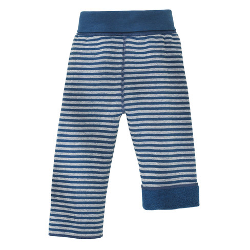 Omkeerbare fleece babybroek, Atlantisch blauw/naturel