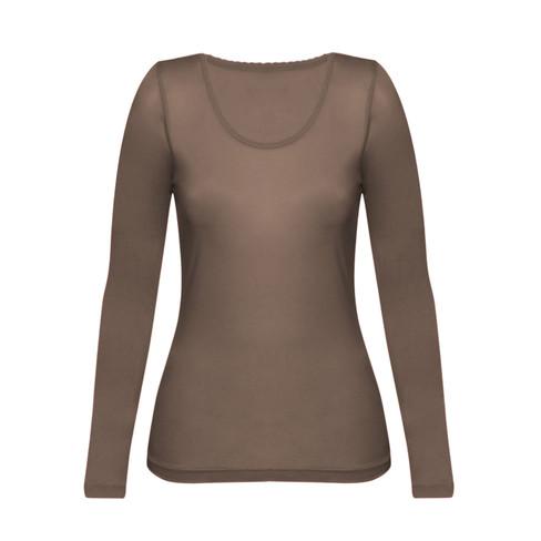 Enna, biologisch zijden shirt met lange mouwen, modder 36 38