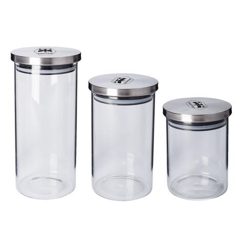 Glazen voorraadpotten, set van 3