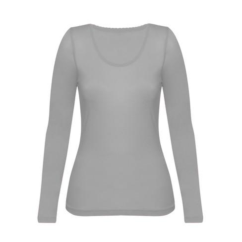 Enna, biologisch zijden shirt met lange mouwen, platinum 36