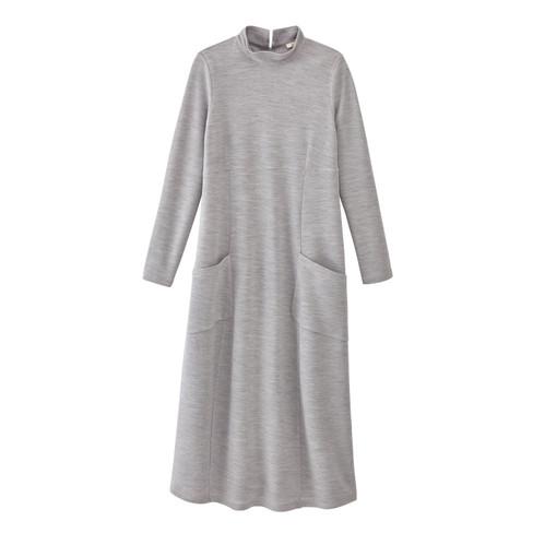 Wollen jersey jurk, ijsgrijs 36