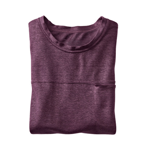 Linnen shirt met korte mouwen, aubergine L
