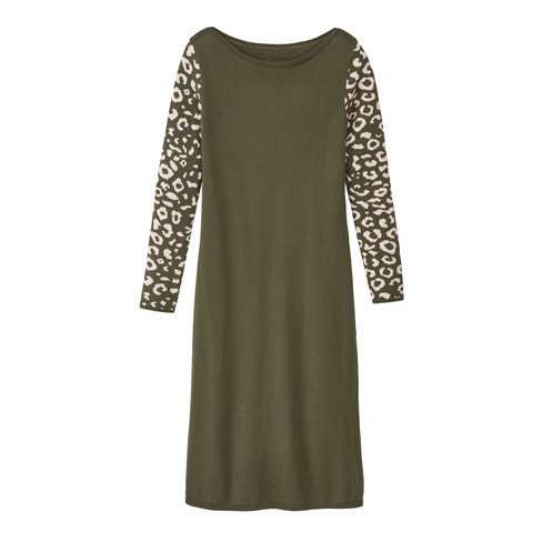 Basic-jurk met bio-merinowol en jacquard mouwen, salie-motief 40/42