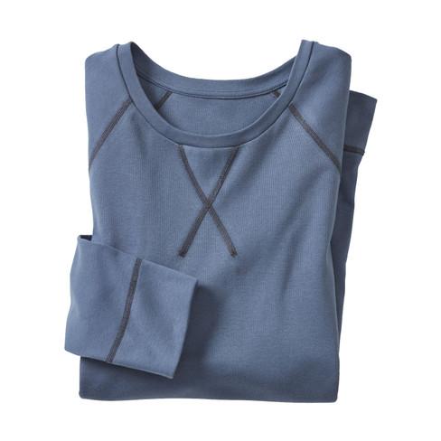 Shirt met lange mouwen uit bio-katoen, rookblauw M