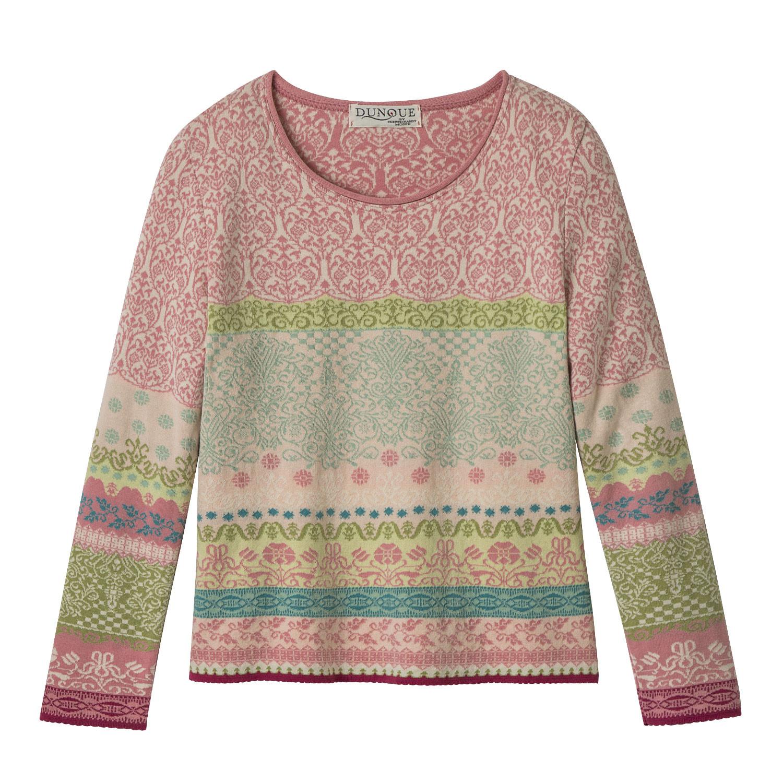 DUNQUE Jacquard-pullover van bio-katoen, roze-motief | Waschbär Eco-Shop from Waschbär