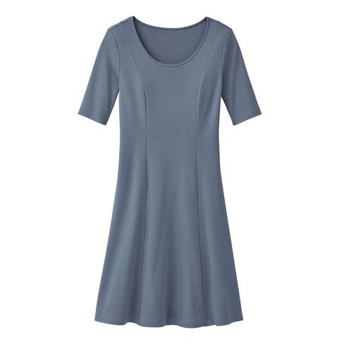 Jersey jurk, rookblauw 36