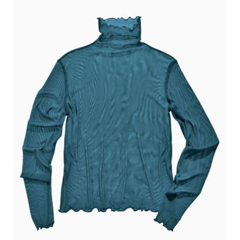 Shirt met lange mouwen uit biologische zijde, oceaan 44/46