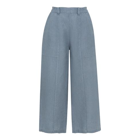Comfortabele culotte van linnen, rookblauw 44