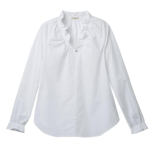 Blouseshirt met v-hals van biologisch katoen, Wit 38