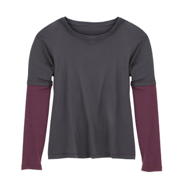 2-in-1 shirt met lange mouwen, leisteen/pruim