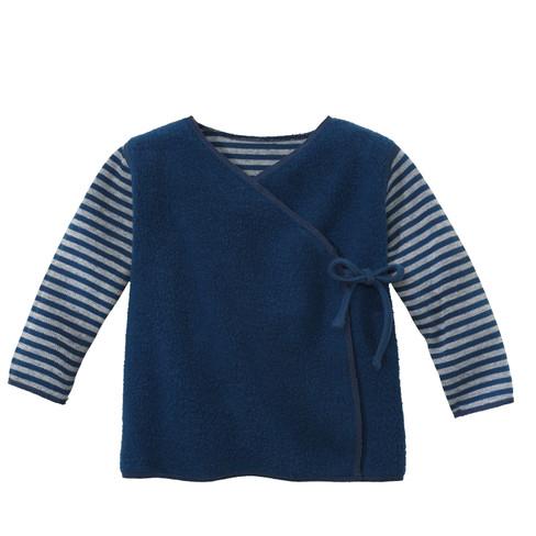 Omkeerbaar fleece babywikkelshirt, Atlantisch blauw/naturel 62/68
