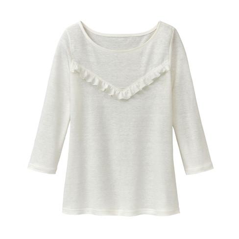 Linnen-jersey shirt met ruches, natuurwit 36/38