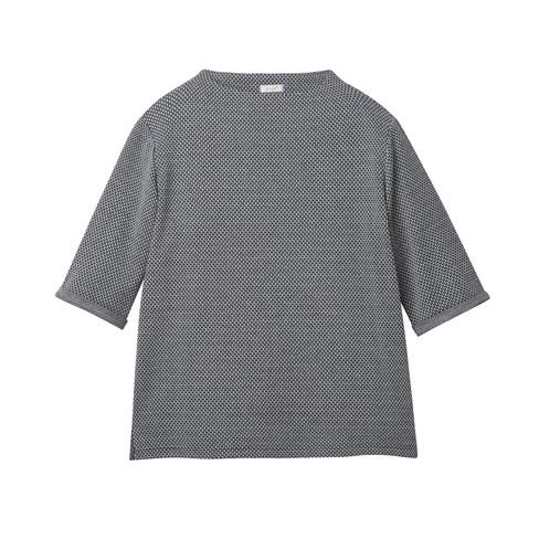 Jacquard shirt met korte mouwen van biologisch katoen, zwart-wit 40/42