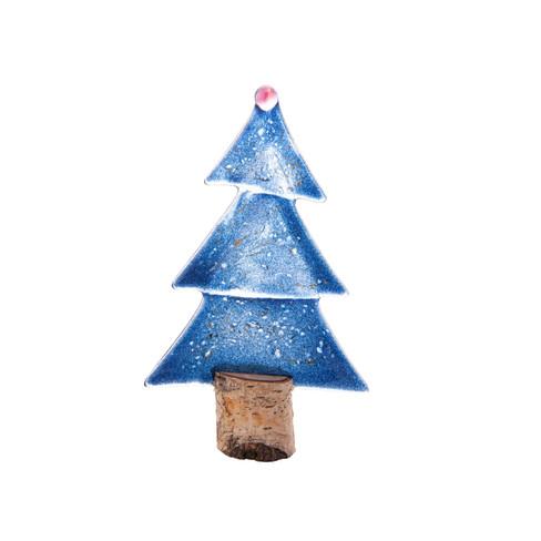 Glazen dennenboom, blauw