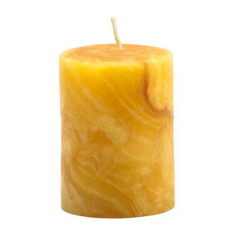 Handgevormde stompkaars, geel � 5 cm, h 6 cm