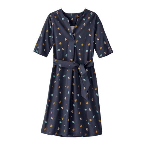 Bedrukte jurk van bio-katoen met tuniekhals en bindceintuur, nachtblauw 44