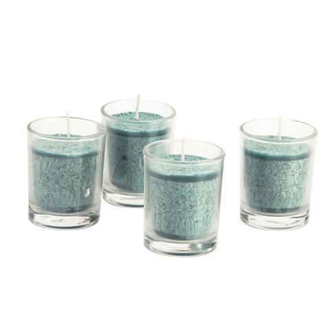 Kaars in glas, 4-dlg. set, petrol � 5,5 � h 6,5 cm