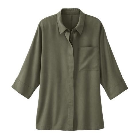 Oversized blouse uit TENCEL™, olijf 36/38