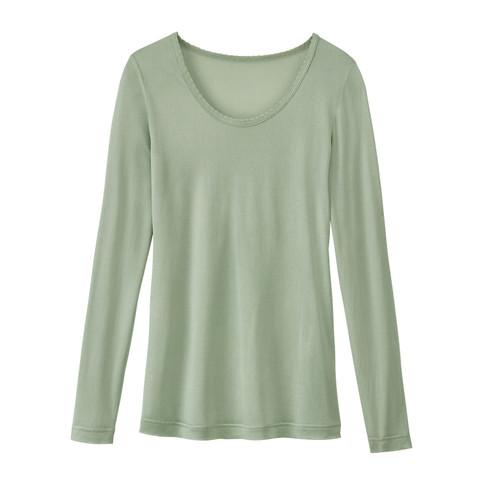 Enna, biologisch zijden shirt met lange mouwen, riet 40/42