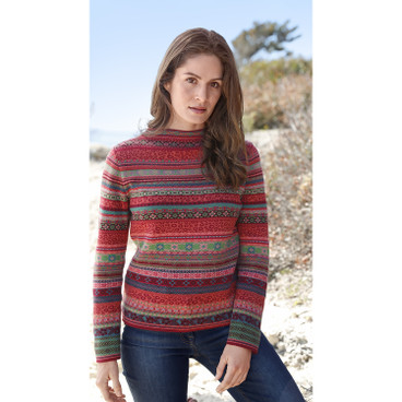 Jacquard-pullover, rood-motief
