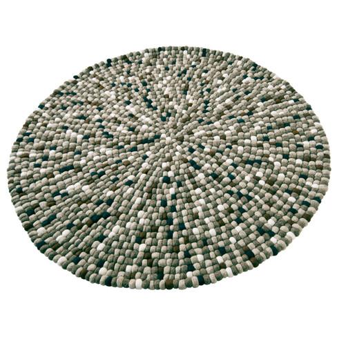 Scheerwollen vilten tapijt, bruin-beige rond 120 cm