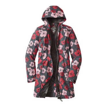 Functionele damesmantel BLOOMY COAT, antraciet-bont