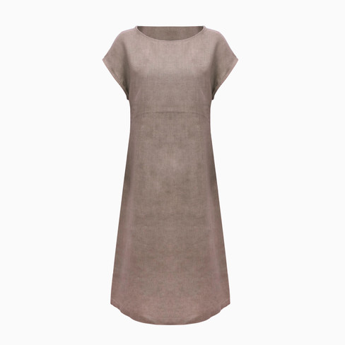 Linnen jurk, taupe 46