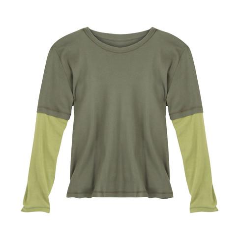 2-in-1 shirt met lange mouwen, kaki/varengroen XXL