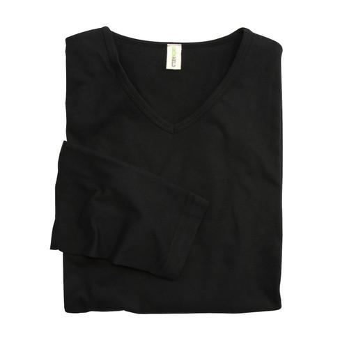 Shirt met lange mouwen en V-hals, zwart M