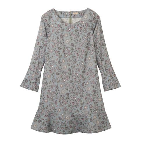 Romantische jurk met subtiele paisleybloemen, blauw-motief 40