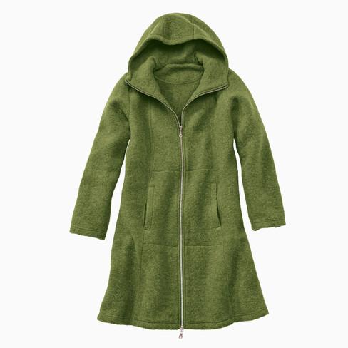 Mantel van walkstof, pistache 40