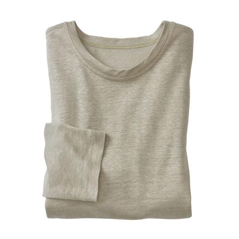 Linnen shirt met lange mouwen, bleekgroen M