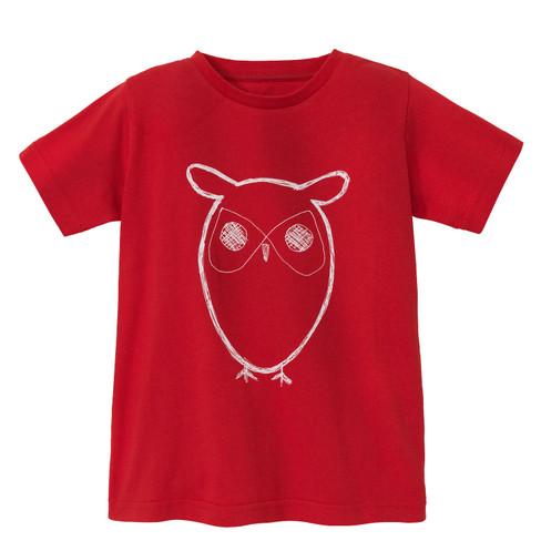 Shirt met korte mouw Uil van bio-katoen, rood 146/152
