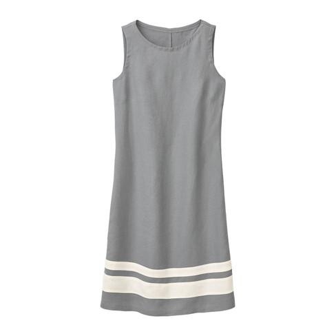 Linnen jurk, zilvergrijs/natuurwit 40