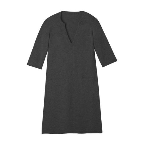 Gebreide jurk, antracietgrijs 36