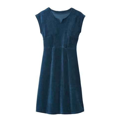 Velours jurk, petrol 34