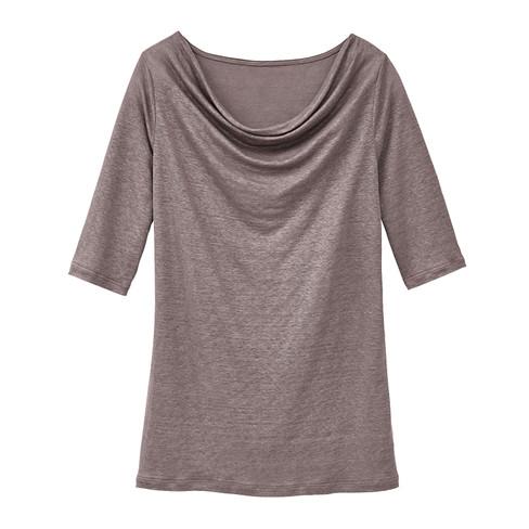 Shirt met watervalhals, modder 44