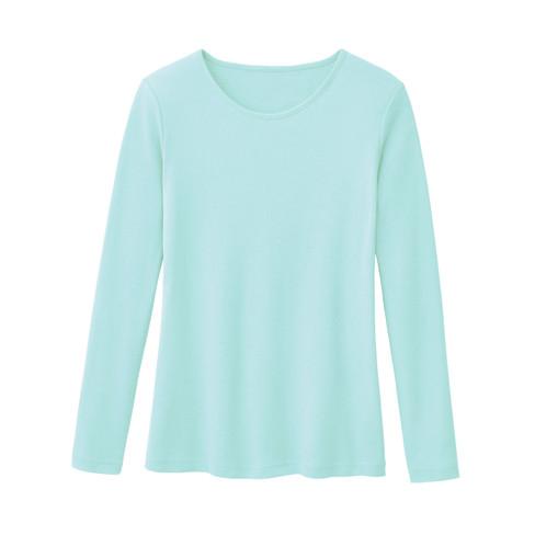Biologisch katoenen shirt met ronde hals en lange mouwen, turkooisblauw 34