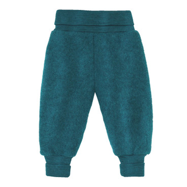 Wollen fleece babybroek, turkoois