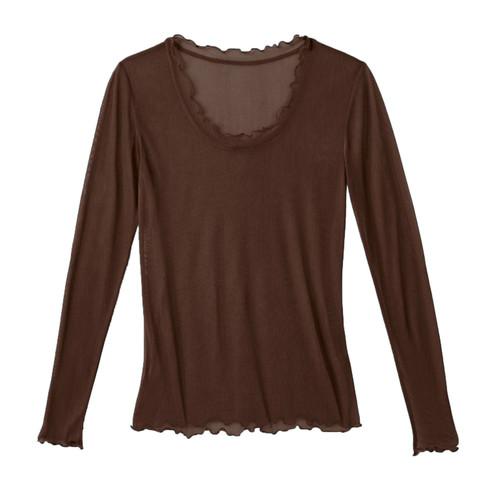 Zijden shirt, bruin 44/46