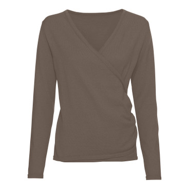 Pullover met V-hals in bio-kwaliteit, taupe