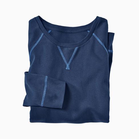 Shirt met lange mouwen uit bio-katoen, marineblauw L