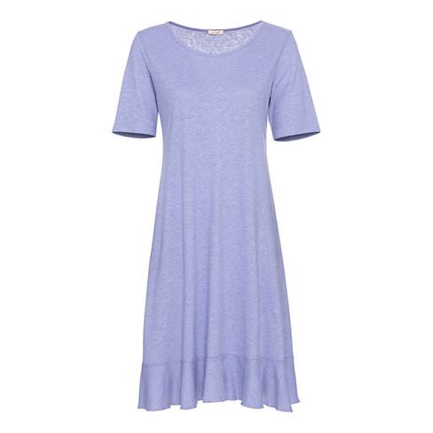 Jersey jurk met korte mouw en volantzoom, duifblauw 40