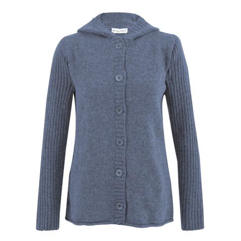 Gebreide jas met capuchon, jeans 36