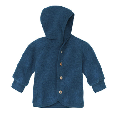 Wollen fleece jas met capuchon, turkoois