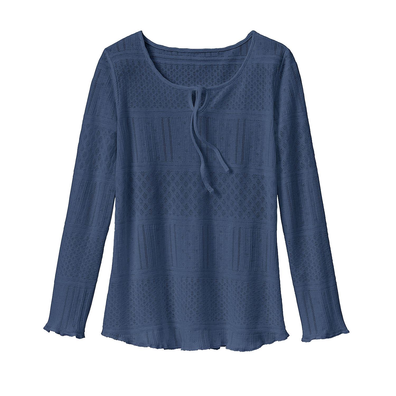 enna Feminien ajour-shirt met druppelhals, rookblauw | Waschbär Eco-Shop from Waschbär