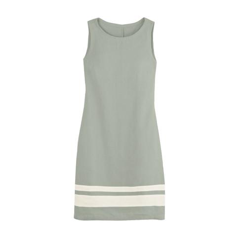 Linnen jurk, riet/wit 36