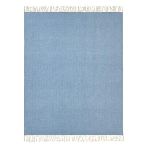 Scheerwollen deken, blauw-melange 140 � 200 cm